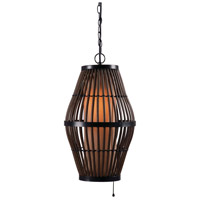 Kenroy Lighting 93390RAT Biscayne 1 Light 12 inch Rattan/Bronze Outdoor Pendant