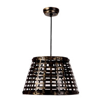 Kenroy Lighting Yarmouth 1 Light Pendant in Black with Gold Highlights 93445BL