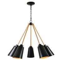Kenroy Lighting 93675BL Alvar 5 Light 22 inch Black Chandelier Ceiling Light