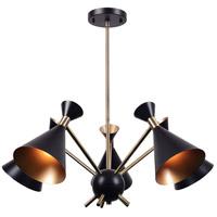 Kenroy Lighting 93795BL Arne 5 Light 30 inch Black Chandelier Ceiling Light