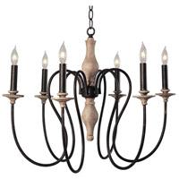 Kenroy Lighting 93846WW Lisbeth 6 Light 27 inch Weathered Wood Chandelier Ceiling Light