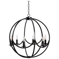 Kenroy Lighting 93916BL Onyx 6 Light 22 inch Black Chandelier Ceiling Light