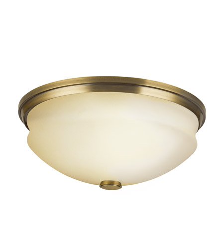 Kichler Lighting Pierson 2 Light Fluorescent Flush Mount in Antique Brass 10408AB photo