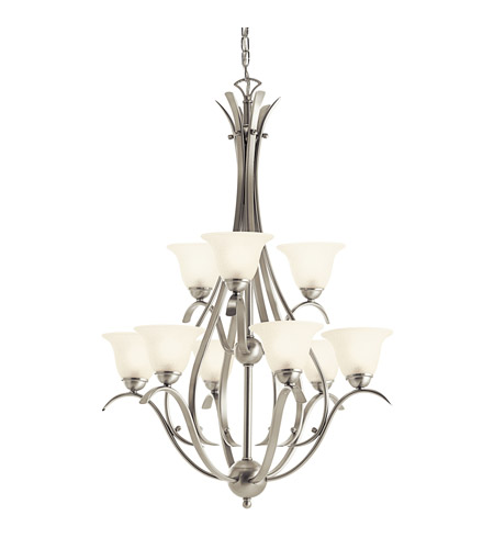Kichler Lighting Dover 9 Light Fluorescent Chandelier in Brushed Nickel 10420NI