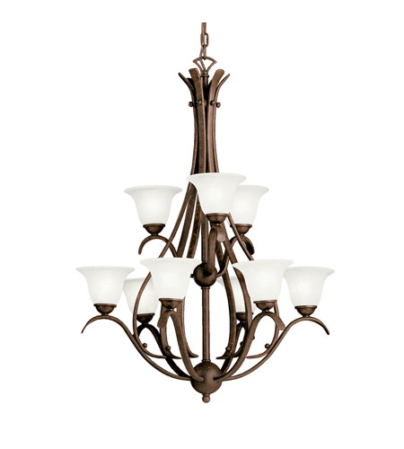 Kichler Lighting Dover 9 Light Fluorescent Chandelier in Tannery Bronze 10420TZ