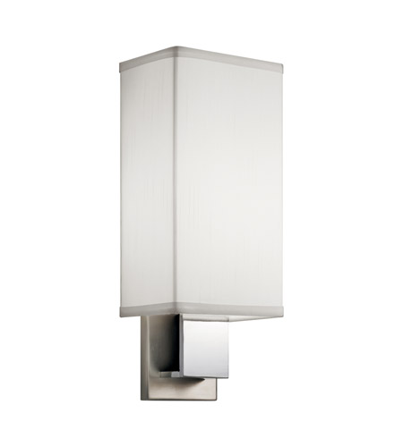 Kichler 10438NCH Santiago 1 Light 6 inch Brushed Nickel & Chrome Fluorescent Sconce Wall Light in White Shade photo