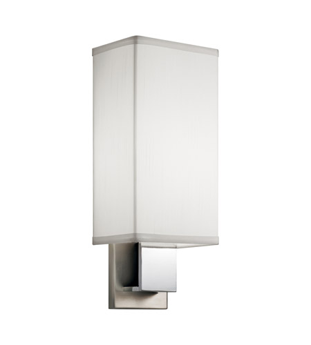 Kichler 10438NCHLED Signature LED 6 inch Brushed Nickel and Chrome Wall Bracket Wall Light in White Linen photo
