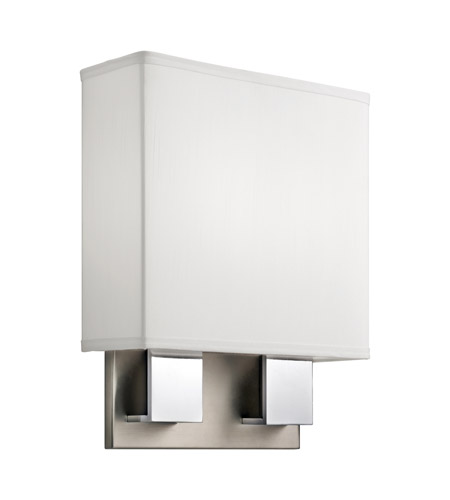 Kichler 10439NCH Santiago 2 Light 11 inch Brushed Nickel & Chrome Fluorescent Sconce Wall Light in White Shade photo