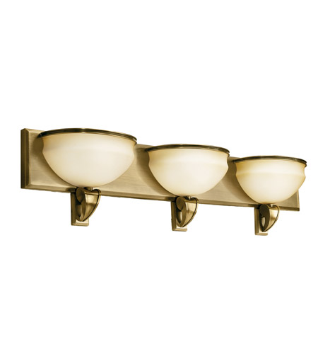 Kichler Lighting Pierson 3 Light Fluorescent Bath Vanity in Antique Brass 10444AB