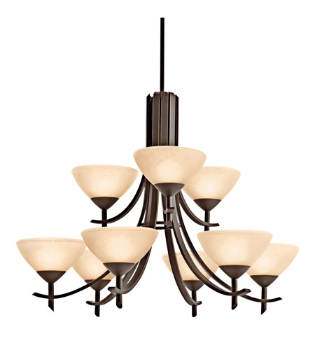 Kichler Lighting Olympia 9 Light Fluorescent Chandelier in Olde Bronze 10777OZ photo
