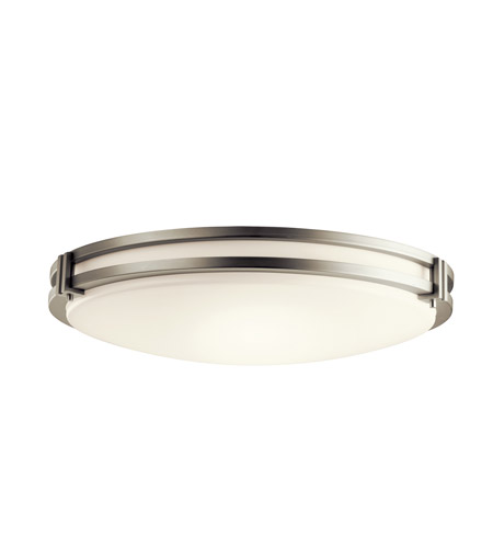 Kichler Lighting Signature 3 Light Fluorescent Flush Mount in Brushed Nickel 10828NI photo