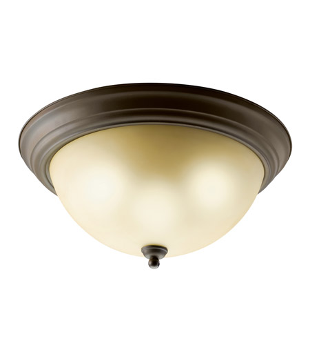 Kichler Lighting Signature 2 Light Fluorescent Flush Mount in Olde Bronze 10837OZ