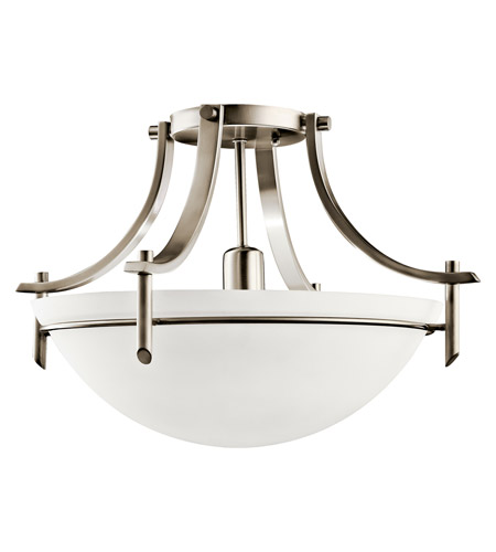 Kichler Lighting Olympia 1 Light Fluorescent Semi Flush in Antique Pewter 10878AP