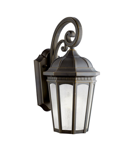 Kichler 11011RZ Courtyard 1 Light 18 inch Rubbed Bronze Fluorescent Outdoor Wall Lantern photo