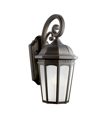 Kichler 11012RZ Courtyard 1 Light 22 inch Rubbed Bronze Fluorescent Outdoor Wall Lantern photo