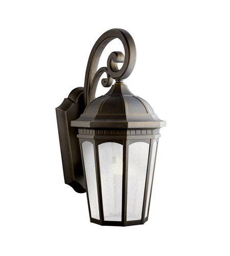 Kichler 11013RZ Courtyard 1 Light 27 inch Rubbed Bronze Fluorescent Outdoor Wall Lantern photo