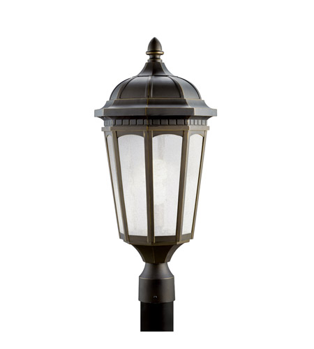 Kichler 11014RZ Courtyard 1 Light 24 inch Rubbed Bronze Fluorescent Outdoor Post photo