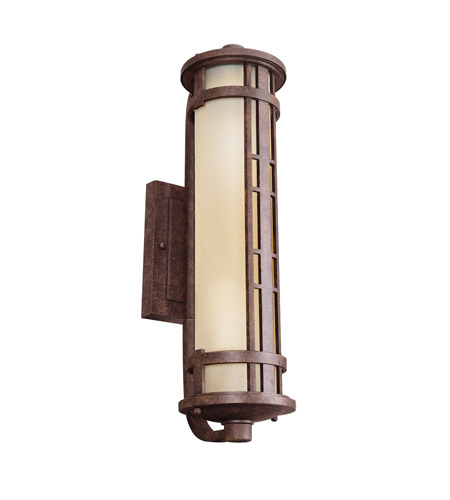 Kichler Lighting Aged Prairie 2 Light Fluorescent Outdoor Wall Lantern in Aged Bronze 11038AGZ