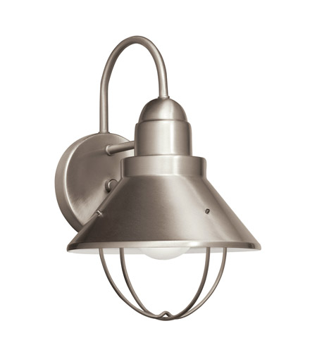 Kichler Lighting Seaside 1 Light Fluorescent Outdoor Wall Lantern in Brushed Nickel 11098NI