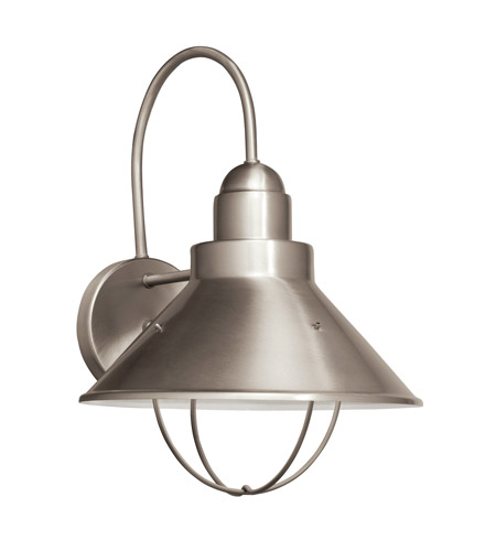 Kichler Lighting Seaside 1 Light Fluorescent Outdoor Wall Lantern in Brushed Nickel 11099NI photo