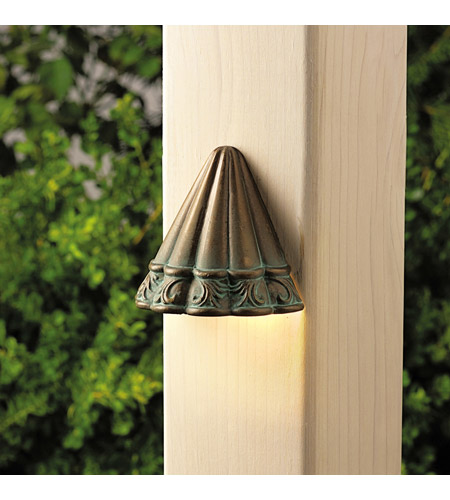 Kichler Lighting Ainsley Square 1 Light Landscape 12V Deck in Verdigris with Aged Brass 15021VGB photo