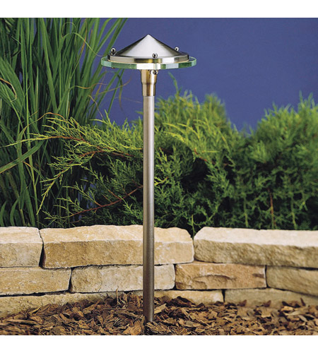 Kichler Lighting Outdoor Low Volt 1 Light Landscape 12V Path & Spread in Brushed Nickel 15317BN