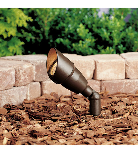 Kichler 15374AZT20L Landscape 12V 12V 50 watt Textured Architectural Bronze Landscape Accent Light in 20W Flood Bulb Included, Single photo