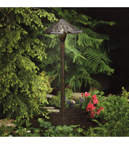 Kichler Lighting Pierced Pyramid head path light Landscape 12V Path & Spread in Textured Tannery Bronze 15437TZT photo