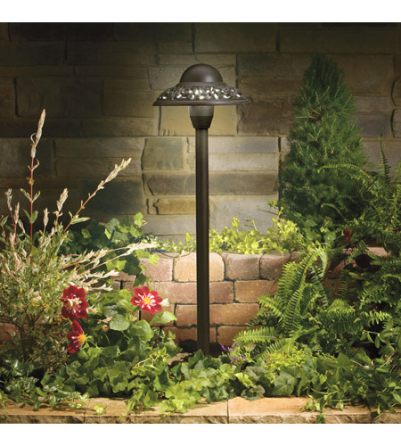 Kichler Lighting Pierced scroll domed head path Landscape 12V Path & Spread in Textured Architectural Bronze 15457AZT