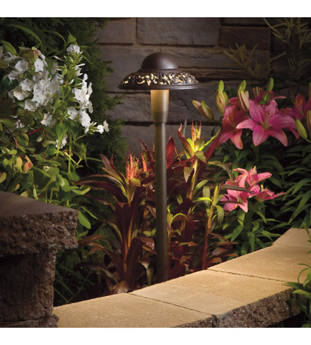 Kichler Lighting LED Pierced Dome Landscape 12V LED Path/Spread in Textured Architectural Bronze 15857AZT photo