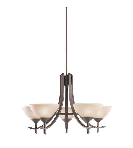 Kichler Lighting Olympia 5 Light Chandelier in Olde Bronze and Sunset Marble Glass 1679OZ
