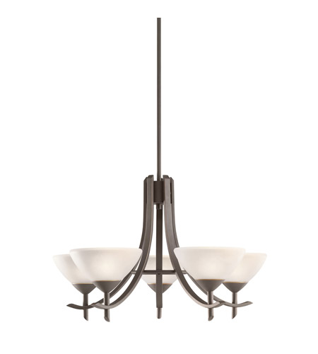 Kichler Lighting Olympia 5 Light Chandelier in Olde Bronze and White Glass 1679OZW