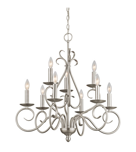 Kichler Lighting Norwich 9 Light Chandelier in Brushed Nickel 1714NI