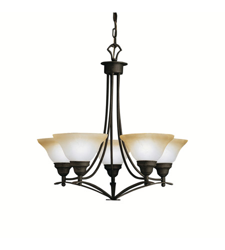 Kichler Lighting Pomeroy 5 Light Chandelier in Distressed Black 1744DBK