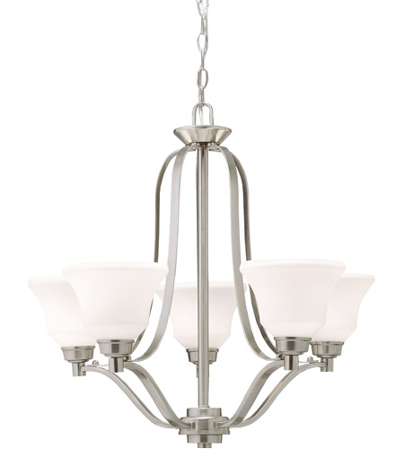 Kichler Lighting Langford 5 Light Chandelier in Brushed Nickel with Etched White Glass 1783NI photo