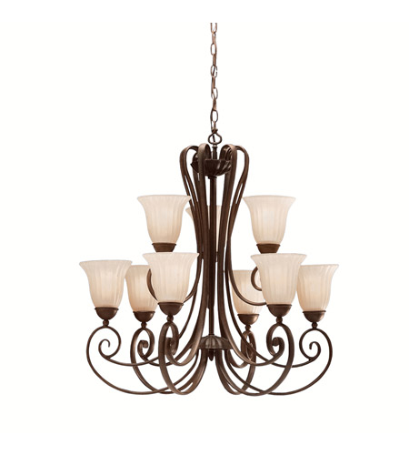 Kichler Lighting Willowmore 9 Light Chandelier in Tannery Bronze 1828TZ