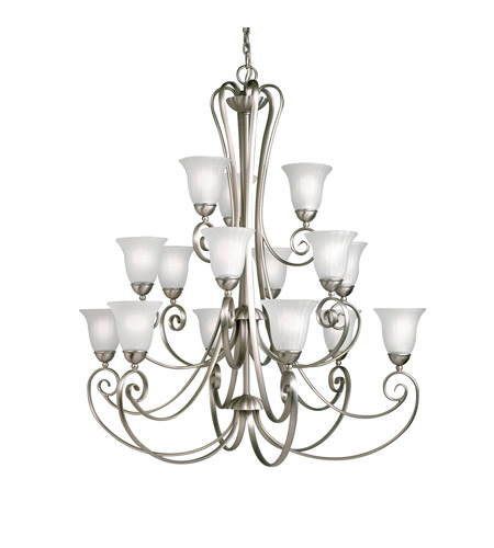 Kichler Lighting Willowmore 15 Light Chandelier in Brushed Nickel 1829NI