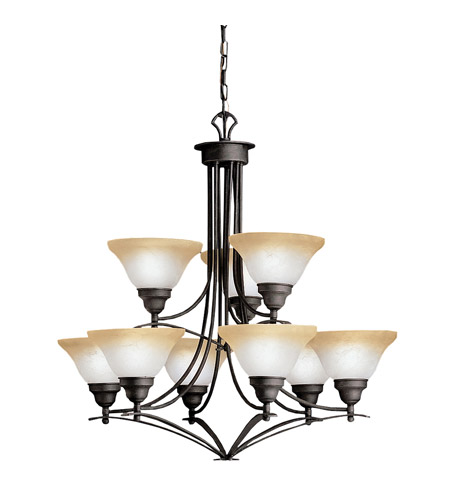 Kichler Lighting Pomeroy 9 Light Chandelier in Distressed Black 1848DBK photo