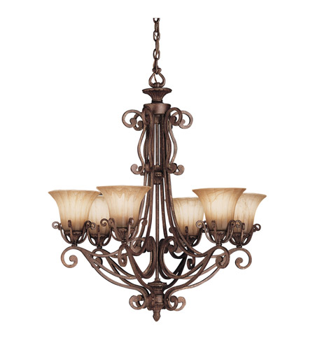 Kichler Lighting Cottage Grove 6 Light Chandelier in Carre Bronze 1855CZ