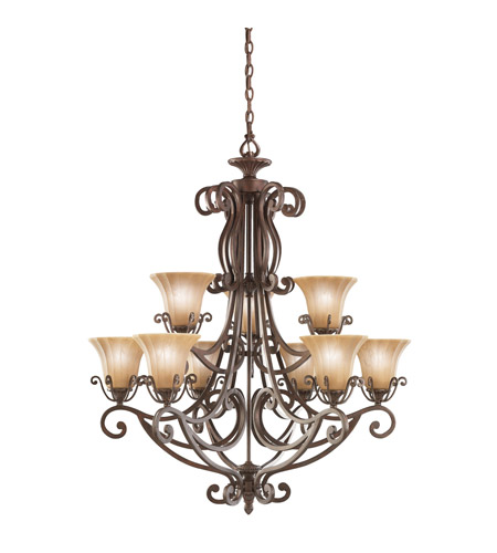 Kichler Lighting Cottage Grove 9 Light Chandelier in Carre Bronze 1856CZ photo