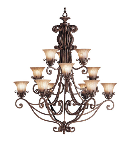 Kichler Lighting Cottage Grove 12 Light Chandelier in Carre Bronze 1857CZ photo