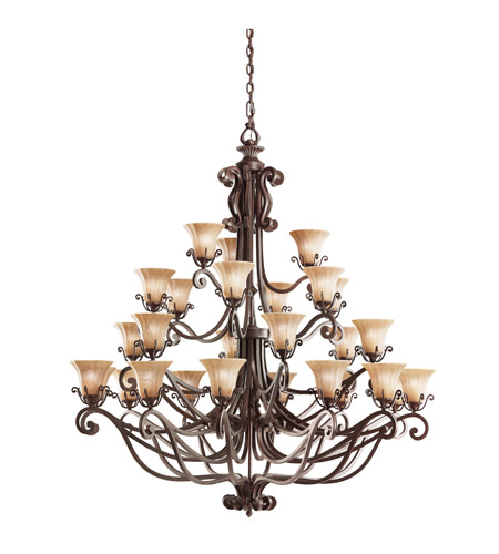 Kichler Lighting Cottage Grove 27 Light Chandelier in Carre Bronze 1858CZ