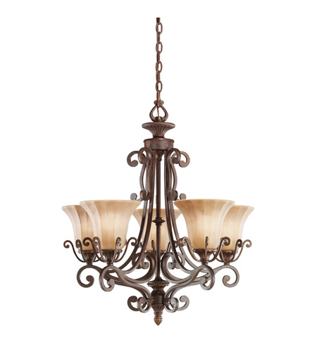 Kichler Lighting Cottage Grove 5 Light Chandelier in Carre Bronze 1859CZ