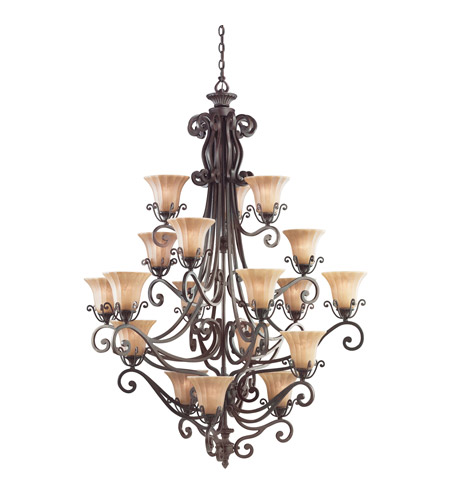 Kichler Lighting Cottage Grove 18 Light Chandelier in Carre Bronze 1860CZ photo