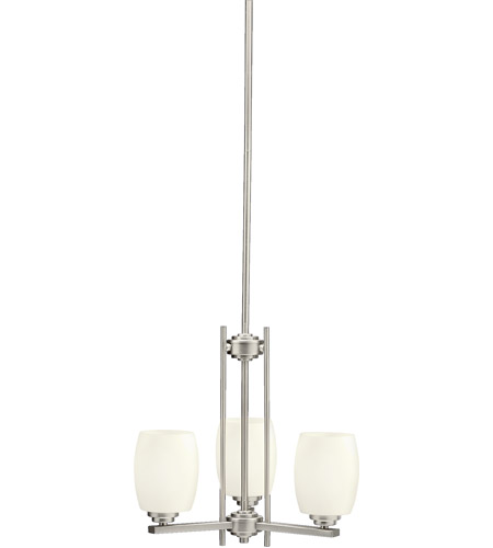 Kichler 1894NI Eileen 3 Light 18 inch Brushed Nickel Chandelier Ceiling Light in Standard, Satin Etched Cased Opal photo