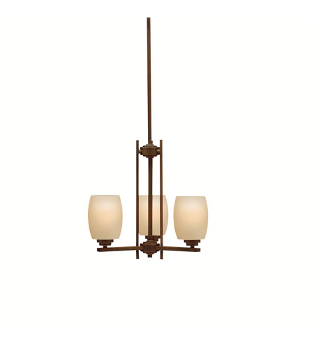 Kichler 1894OZ Eileen 3 Light 18 inch Olde Bronze Chandelier Ceiling Light in Standard, Umber Etched Glass photo