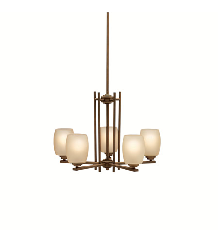 Kichler 1896OZ Eileen 5 Light 24 inch Olde Bronze Chandelier Ceiling Light in Umber Etched Glass, Standard photo