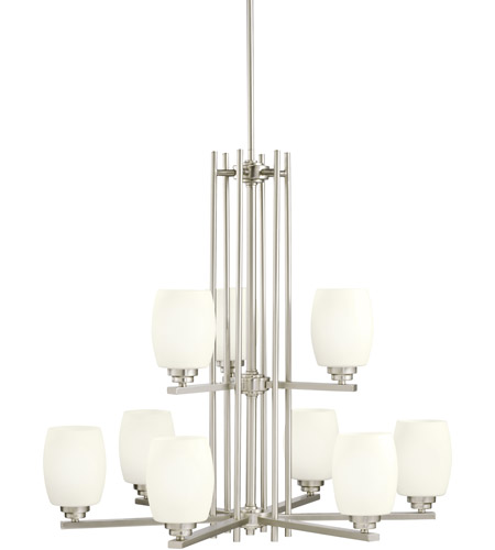Kichler 1897NI Eileen 9 Light 30 inch Brushed Nickel Chandelier Ceiling Light in Standard, Satin Etched Cased Opal photo