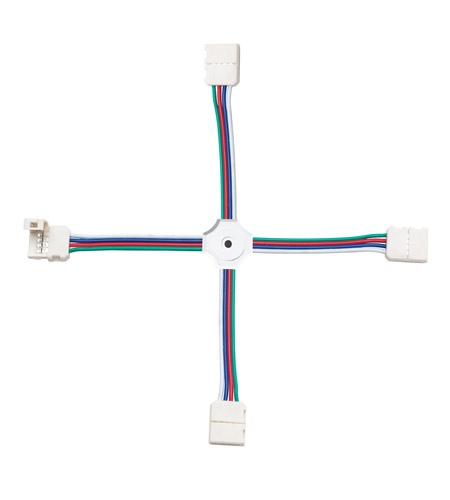 Kichler Lighting LED Tape Connector 4-Way RGB in White Material 1C4RGBWH