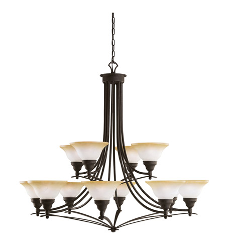 Kichler Lighting Pomeroy 12 Light Chandelier in Distressed Black 2048DBK